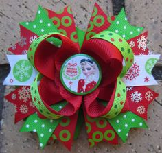 Christmas Holiday Hair Bow inspired by Elsa from FROZEN for Disney Vacation or Birthday Party