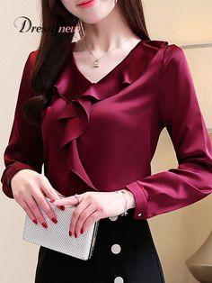 V Neck Patchwork Plain Blouses - Top clothes Blouse Styles, Blouse Designs, Cheap Womens Tops, Trendy Tops, Coat Dress, Blouse Dress, Jane Austen, Coats For Women, Blouses For Women