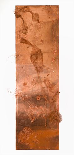 """Randy Garber Made in Translation, 2011, copper wire on copper panel, 5' h x 18"""" w"""