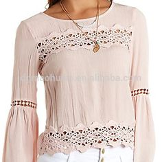 Bell Sleeve Crepe & Crochet Blouse by Charlotte Russe - Pale Blush Cool Outfits, Casual Outfits, Crochet Blouse, T Shirt Diy, Personalized T Shirts, Blouse Vintage, Lace Tops, Fashion Dresses, Womens Fashion