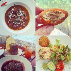Delicious Caribbean lunch @bbscrabback: goat stew tuna steak in red wine sauce pumpkin fritters fried bakes crab salad gospo (Seville orange) fruit juice pappodom home made mango chutney & scotch bonnet sauce ricen peas. #fresh #food #travel #lunch