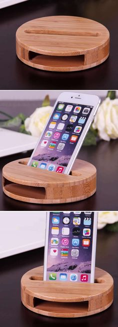 Bamboo sound amplifier stand dock for smartphone adornos de madera, cnc mad Small Wood Projects, Projects To Try, Diy Phone Stand, Wood Phone Stand, Woodworking Plans, Woodworking Projects, Support Smartphone, Wood Crafts, Diy And Crafts