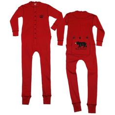 Lazy One Kids Bear Bottom Flapjacks Long John Pajamas (Red  Size 6 Youth)