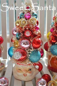 Kitschy Santa bottlebrush tree