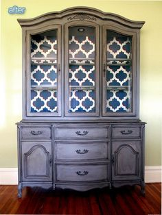 Super Refurbished Furniture Diy Before And After Hutch Makeover Ideas Home Projects, Redo Furniture, Refurbished Furniture, Grey China Cabinet, Refinishing Furniture, Furniture Rehab, Redo Cabinets, Furniture Makeover, Shabby Chic Furniture