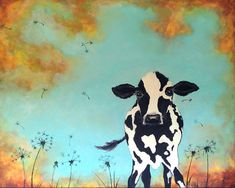 Cow painting print nursery dandelion art. $15.00, via Etsy.