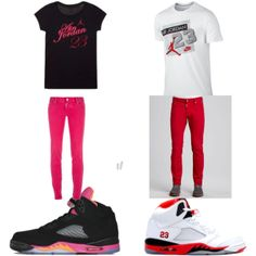 """His and hers ^_^"" by youngthuggahh on Polyvore cheap air jordan 5 only $58.5 , save up to 59% off for all #Nikes #Shoes"