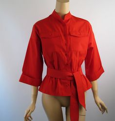 Vintage 1970s Red Peplum Blouse by Leslie Fay Sz 12 B40 offered at Ruby Lane