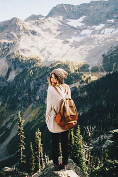 Adventure travel mountains girl photo