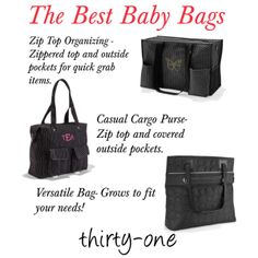 """""""The best baby bags thirty one"""" (Polyvore page by jade-illeck)  Shop my site to get this and all your favorite bags:  www.mythirtyone.com/nickiew"""