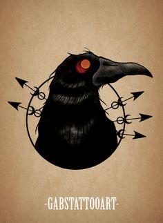 Black Crow Tattoo design  @gabstattooart