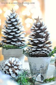Pine Cone Christmas Trees Pine Cone Christmas Trees are fun and easy to make. They create a pretty holiday vignette in your home or on your dining table. Pine Cone Christmas Tree, Noel Christmas, Christmas Crafts For Kids, Homemade Christmas, Rustic Christmas, Christmas Projects, Simple Christmas, Winter Christmas, Holiday Crafts
