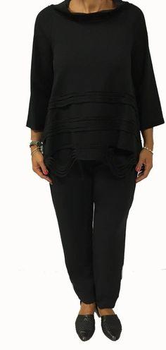 TADASHI maglia donna manica 3/4 nero con inserti in tinta 95% cotone 5% elastan