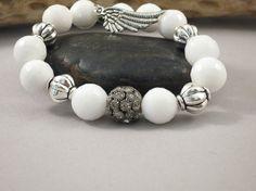 White Jade Bracelet Angel Wing Bracelet by ViaVayJewelryDesigns, $22.00