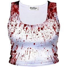 Blood Splatter Crop Tank (7.290 HUF) ❤ liked on Polyvore featuring tops, low crop top, cut-out crop tops, cropped tank top, crop top and low top