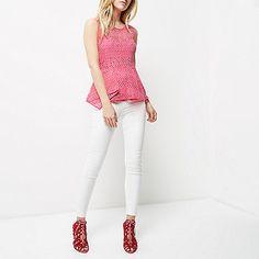 Pink lace peplum top - peplum tops - tops - women