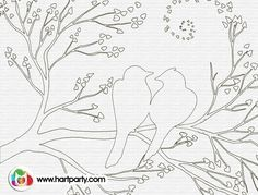 How to birds on a branch Trace-able and coloring page :) for hART pARTy and The art Sherpa