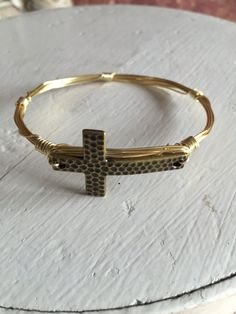 Hammered Cross Wire Wrapped Bangle Bracelet Antiqued Gold by RaeLynnJewelry on Etsy