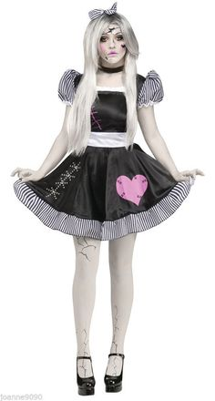 LADIES SEXY BROKEN ZOMBIE BABY DOLL HALLOWEEN FANCY DRESS COSTUME WITH TIGHTS BN in Clothes, Shoes & Accessories, Fancy Dress & Period Costume, Fancy Dress | eBay