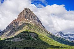 Grinnel Point - A close up view of magnificent Grinnel Point at Many Glacier in Glacier National Park, Montana