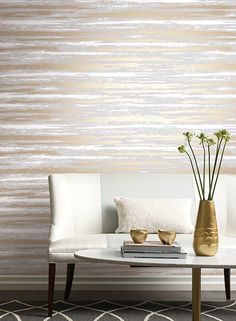Atmosphere Wallpaper from Antonina Vella Modern Metals Wallpaper Book by York. Priced by single roll and packaged double. Gold Wallpaper Pattern, Metallic Wallpaper, Modern Wallpaper, Grey And Gold Wallpaper, Designer Wallpaper, How To Hang Wallpaper, Wallpaper Roll, Dining Room Wallpaper, Bedroom Wallpaper
