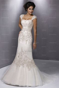 Trumpet/Mermaid Straps Court Train Organza Wedding Dress