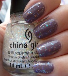 China Glaze - Snow globe layered over Below Deck