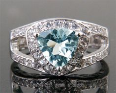 4.12ct Trillion Aquamarine .18ct Diamonds 14K White by ThisIsLOGR, $539.00