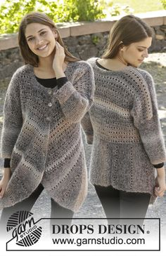 Gorgeous jacket with short rows and lace pattern. Pattern online for free by #garnstudio #knitting #aw2014