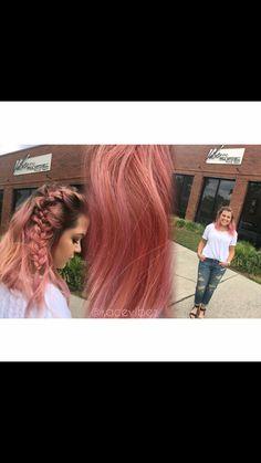 Pastel pink hair and braids