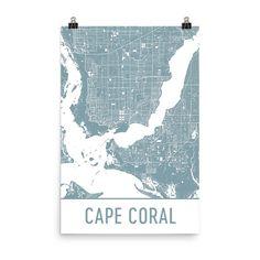Cape Coral Map Art Print, Cape Coral FL Art Poster, Cape Coral Wall Art, Map of Cape Coral, Cape Coral Print, Cape Coral Art, Gift, Poster