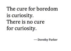 The cure for boredom is curiosity.  There is no cure for curiosity. -Dorothy Parker