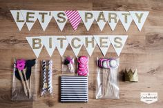 LET'S PARTY BITCHES - perfect pink, black and glitter gold bachelorette party decorations. By Cudowianki.
