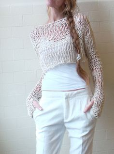 Ivory cropped sweater / Neutral linen / cotton cropped grunge