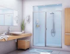 Bath Shower Doors Glass Frameless has a modern and stylish shower enclosure on the side. Household Cleaning Tips, Toilet Cleaning, House Cleaning Tips, Glass Shower Doors, Glass Bathroom, Small Bathroom, Bathroom Ideas, Glass Doors, Glass