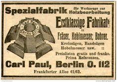 Original-Werbung/ Anzeige 1912 - WERKZEUGE ZUR HOLZBEARBEITUNG / CARL PAUL - BERLIN - ca. 100 x 60 mm
