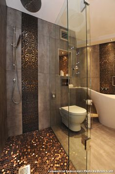 Sparkle Floor Tiles with Contemporary Bathroom and Accent Tiles Ceiling Lighting Copper Damask Freestanding Tub Glass Shower Enclosure Mosaic Tiles Penny Tiles Rain Shower Head Recessed Lighting Tile Flooring