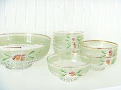 6 Vintage Glass Berry Bowls Set Enameled Flowers by MaryWaldsPlace