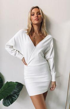 Way More Long Sleeve Knit Dress White – Beginning Boutique US White Dress Fall, White Wrap Dress, White Long Sleeve Dress, Dress Long, Knit Skirt, Knit Dress, Midi Skirt, Casual Dresses, Short Dresses