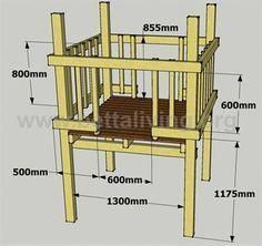 Child's play fort diagram, walls and floor. Plus a link for adding a roof Kids Playhouse Plans, Kids Indoor Playhouse, Build A Playhouse, Backyard Fort, Backyard For Kids, Backyard Projects, Cubby Houses, Play Houses, Play Fort