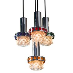 Mid Century Modern Colored Glass Pendants - Dering Hall (=)