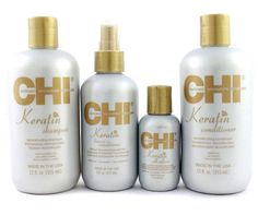 CHI KERATIN SHAMPOO, CONDITIONER, LEAVE IN CONDITIONER, SILK INFUSION GIFT SET #CHIKERATIN