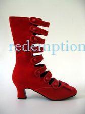 "*Red Velvet Bordello 2.5"" Burlesque Vaudeville Victorian Boots Noir Goth 11"