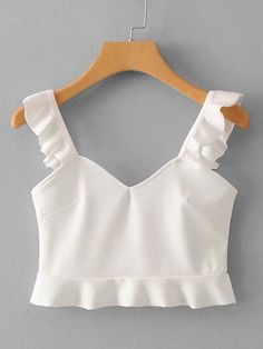 SheIn offers Ruffle Trim Solid Top & more to fit your fashionable needs. Girls Fashion Clothes, Teen Fashion Outfits, Mode Outfits, Outfits For Teens, Girl Fashion, Girl Outfits, Cute Summer Outfits, Cute Casual Outfits, Mode Pastel