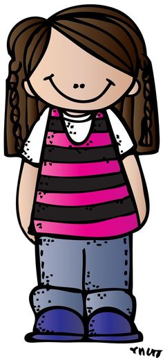 Melonheadz girl with plaits and striped tank over white tee Cute Images, Cute Pictures, Little People, Little Girls, Girl Clipart, School Clipart, Printable Designs, Printables, In Kindergarten