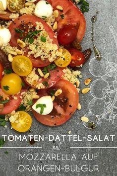 Hast du bereits vorgekochten Bulgur im Kühlschrank? Dann einfach etwas Orangenabrieb darunter rühren, und schon hast du denn ersten Schritt geschafft. Ein einfaches Gericht ohne viel Aufwand. #kaltesGericht #schnelleKüche #gesund #lecker #einfach #kochen #Kochbuch #Salat Caprese Salad, Vegetables, Dressings, Food, Vegetarian Recipes Easy, Easy Cooking, Healthy Recipes, Eat Lunch, Food Dinners