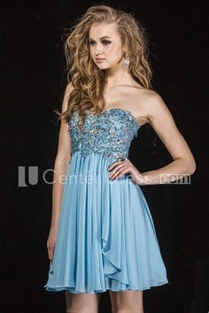 $122.09-Beautiful Beaded Sweetheart Sleeveless Chiffon Backless Homecoming Dress Short. http://www.ucenterdress.com/a-line-beaded-sweetheart-mini-sleeveless-chiffon-prom-dress-with-pleats-pMK_304010.html.  Great homecoming find up to 50% off! Free Shipping. Follow us, you will find many stylish cheap homecoming dresses under $100. We have more inexpensive homecoming dress, vintage, unique, tight, elegant homecoming dresses for teens, freshman, curvy girls. #homecoming