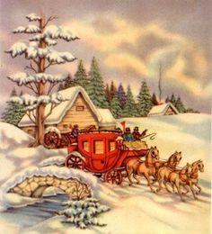Vintage Landscape -  Landscapes - Vintages Cards -  landscape, vintage, xmas, christmas, holidays, free, clipart,