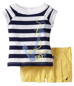 Nautica Girls 2-6X 2 Piece Stripe Top Short Set $24.19, get it now at http://ilovebabyclothes.com/?page_id=668
