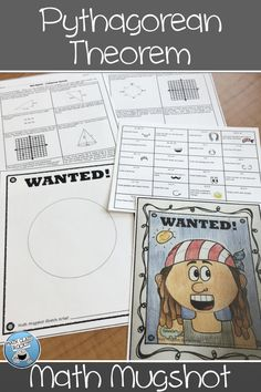 """PYTHAGOREAN THEOREM MUGSHOT - Math Mugshots are a GREAT way to review math concepts while providing some """"color"""" to math class!  Students will solve 12 problems using the Pythagorean Theorem and then use their answers (and the corresponding features) to draw and color their mugshot! 8th Grade Math, Math Class, Pythagorean Theorem, Math Concepts, Common Core Standards, Mug Shots, Math Resources, Rocks, Students"""